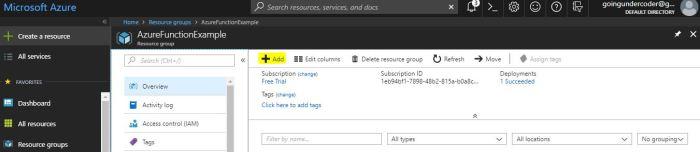 Azure Functions Tutorial Resource Group