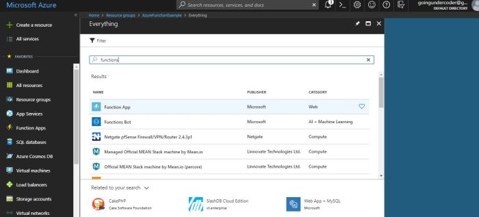 Azure Functions Tutorial Search Functions