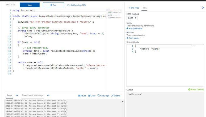 Azure Functions Tutorial Test Function