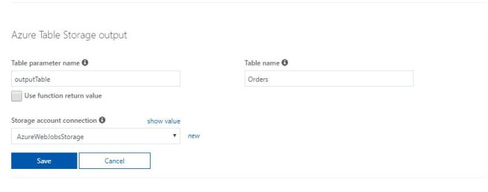 Azure Functions Tutorial Select Table Storage Output binding